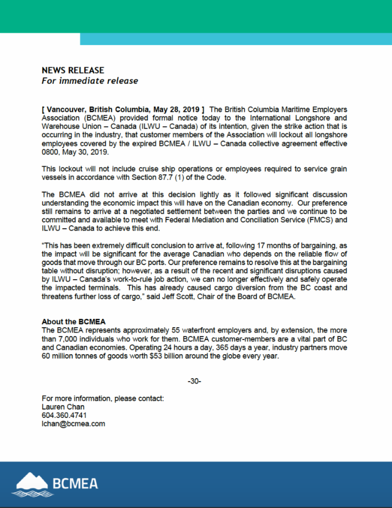 BCMEA/ILWU lockout notice received