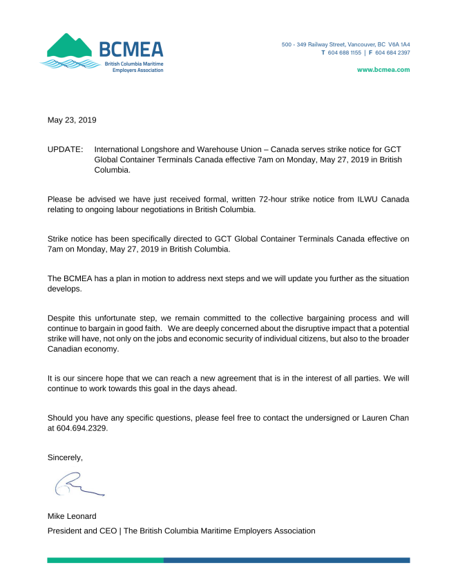 BCMEA strike notice 5-24-2019