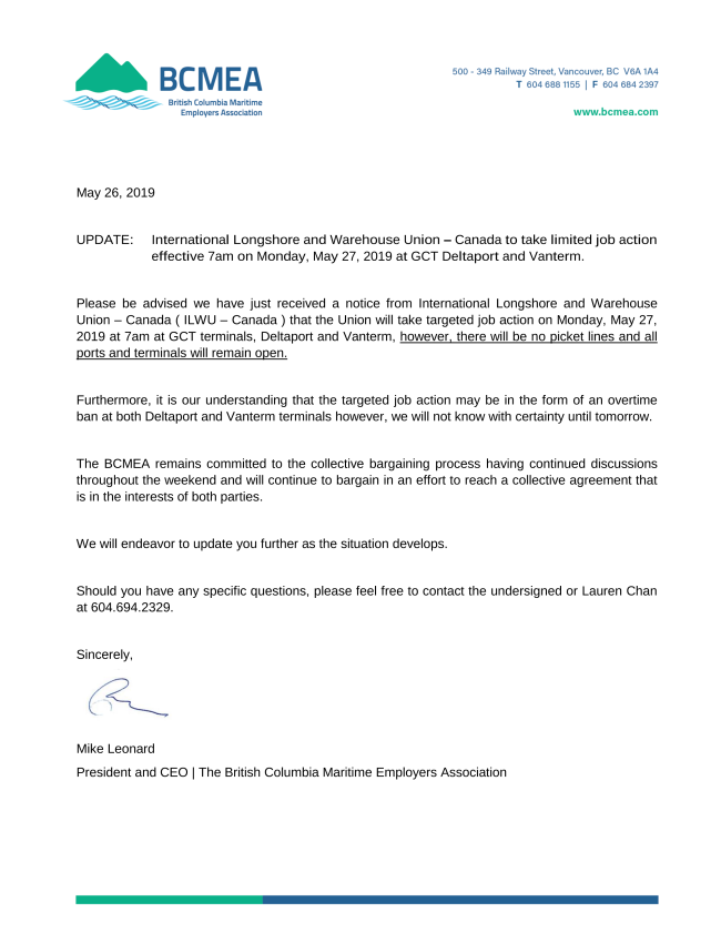 BCMEA update - May 26, 2019
