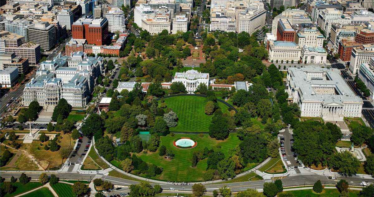 Washington DC- white house aerial view