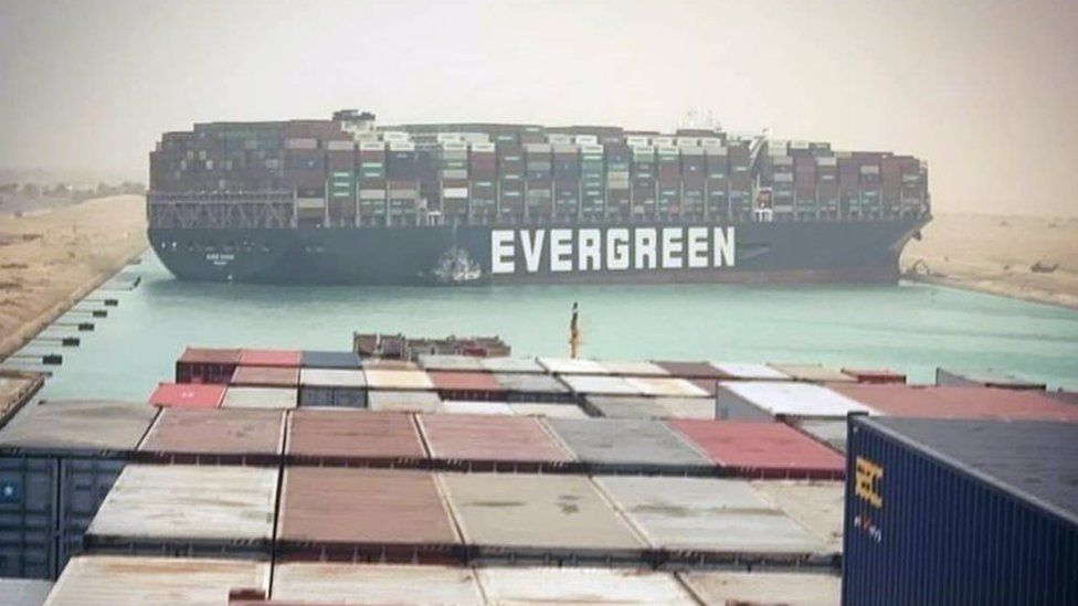Suez Canal Blocked By Grounded Container Ship